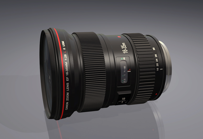 Canon Lens Model blender models and rigging sytems