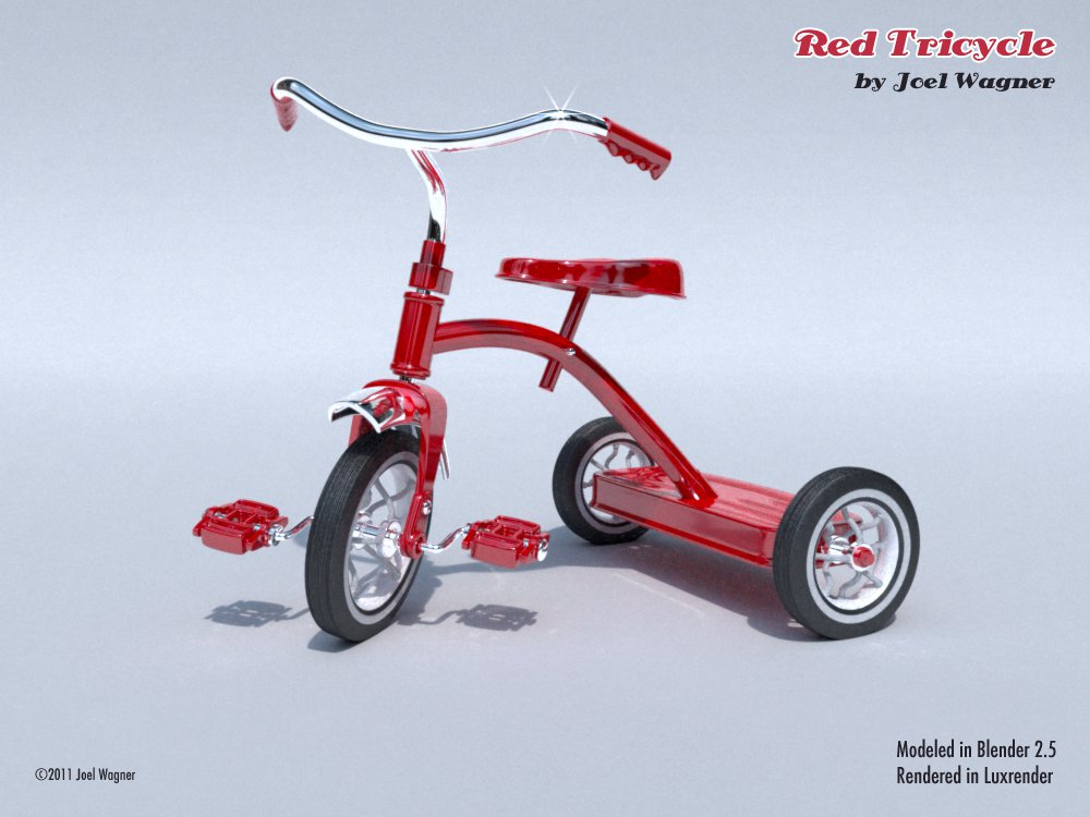 Tricycle by Joel Wagner  blender models and rigging sytems art 3d news