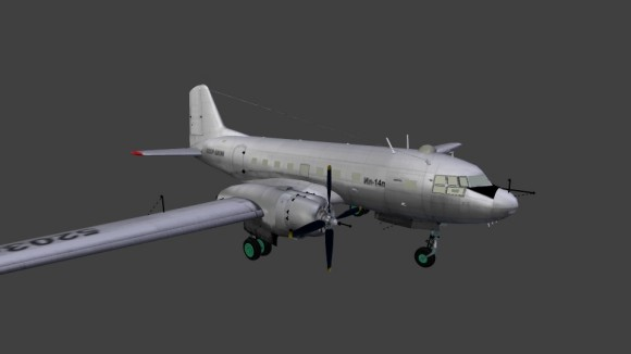 Model: Ilyushin IL14p aircraft blender models and rigging sytems