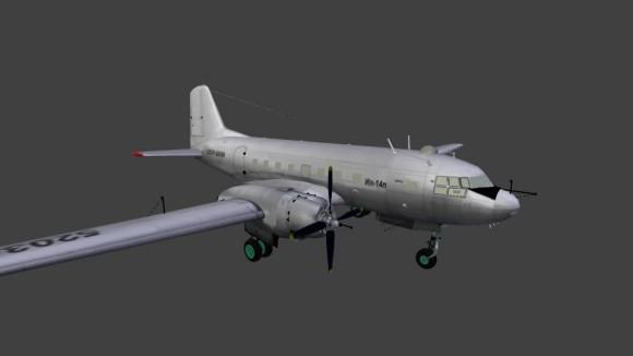 Model: Ilyushin IL14p aircraft blender models and rigging sytems