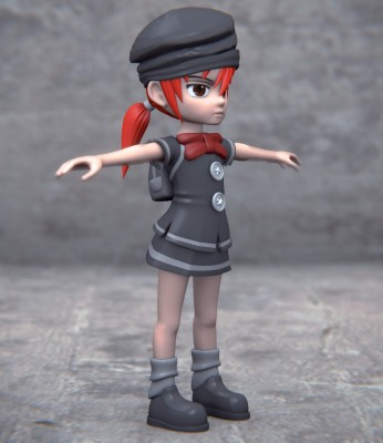 Model: Tuff Girl – Anime/Manga Style character blender models and rigging sytems