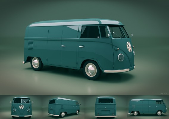Model: 1950s VW Van Blender 2.63 (Cycles) blender models and rigging sytems