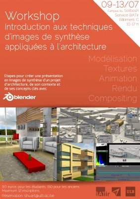 Workshop Introduction to CG techniques for architectural visualization, Brussels, July 9 workshops education