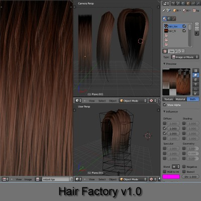 Hair Factory v1.0 blender models and rigging sytems