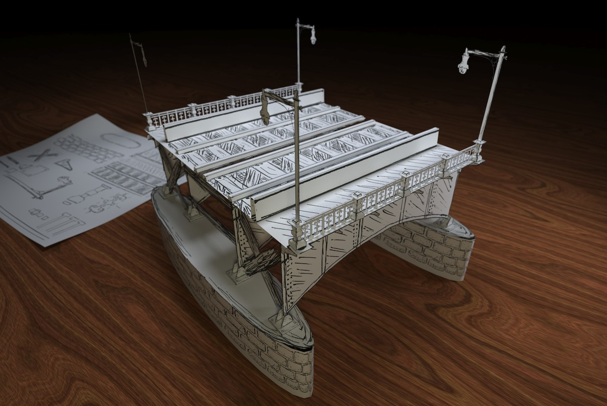 Model: Paper Bridge blender models and rigging sytems