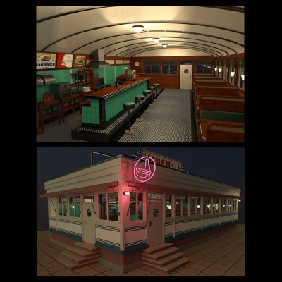 Model Download: Diner blender models and rigging sytems
