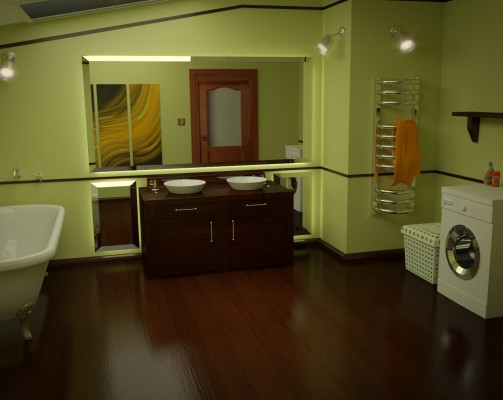 Model: Bathroom Interior Scene blender models and rigging sytems