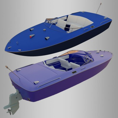 Model Download: 69 Chris Craft Boat blender models and rigging sytems