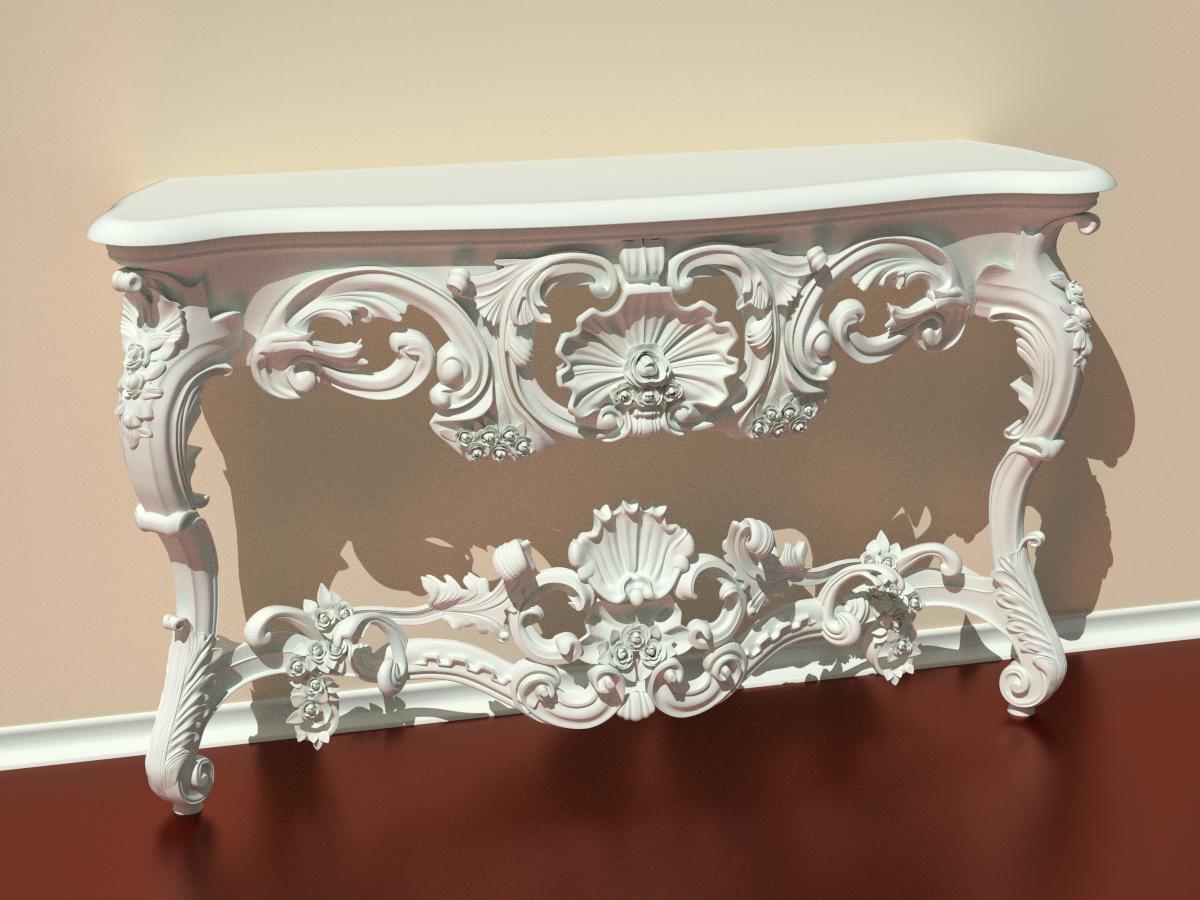 Model download baroque table blendernation - Table blanche baroque ...