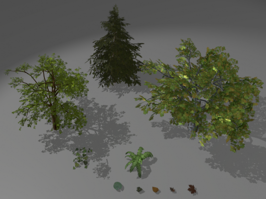 Model Download: Low poly foliage blender models and rigging sytems