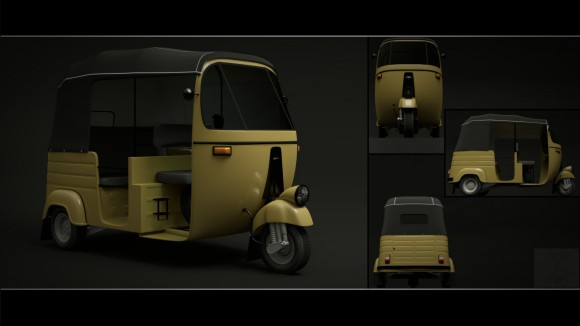 Model Download: Auto Rickshaw blender models and rigging sytems
