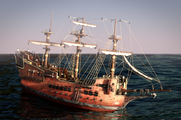 Model Download: Suzannes Revenge Pirate Ship blender models and rigging sytems
