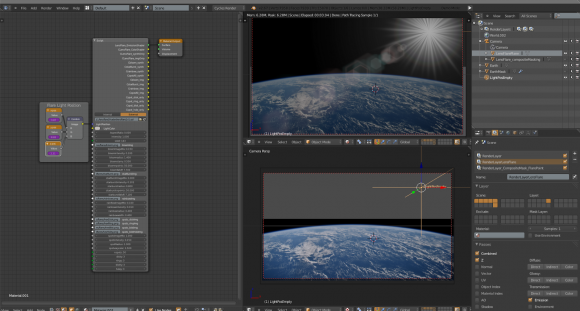 Real time lens flare for Blender