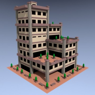 Model Download: Low Poly Building	  blender models and rigging sytems