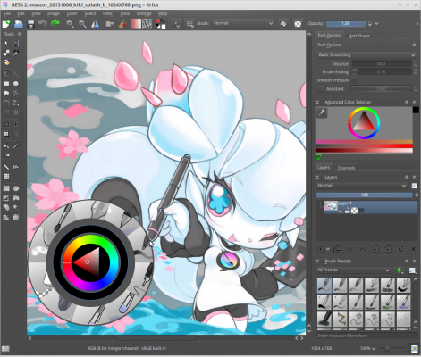 Krita_2.8_screenshot_with_its_mascot_Kiki