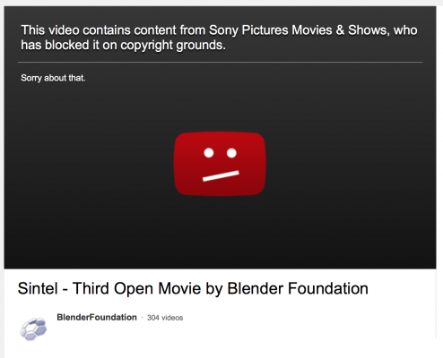 SONY BLOCKS SINTEL ON YOUTUBE video art
