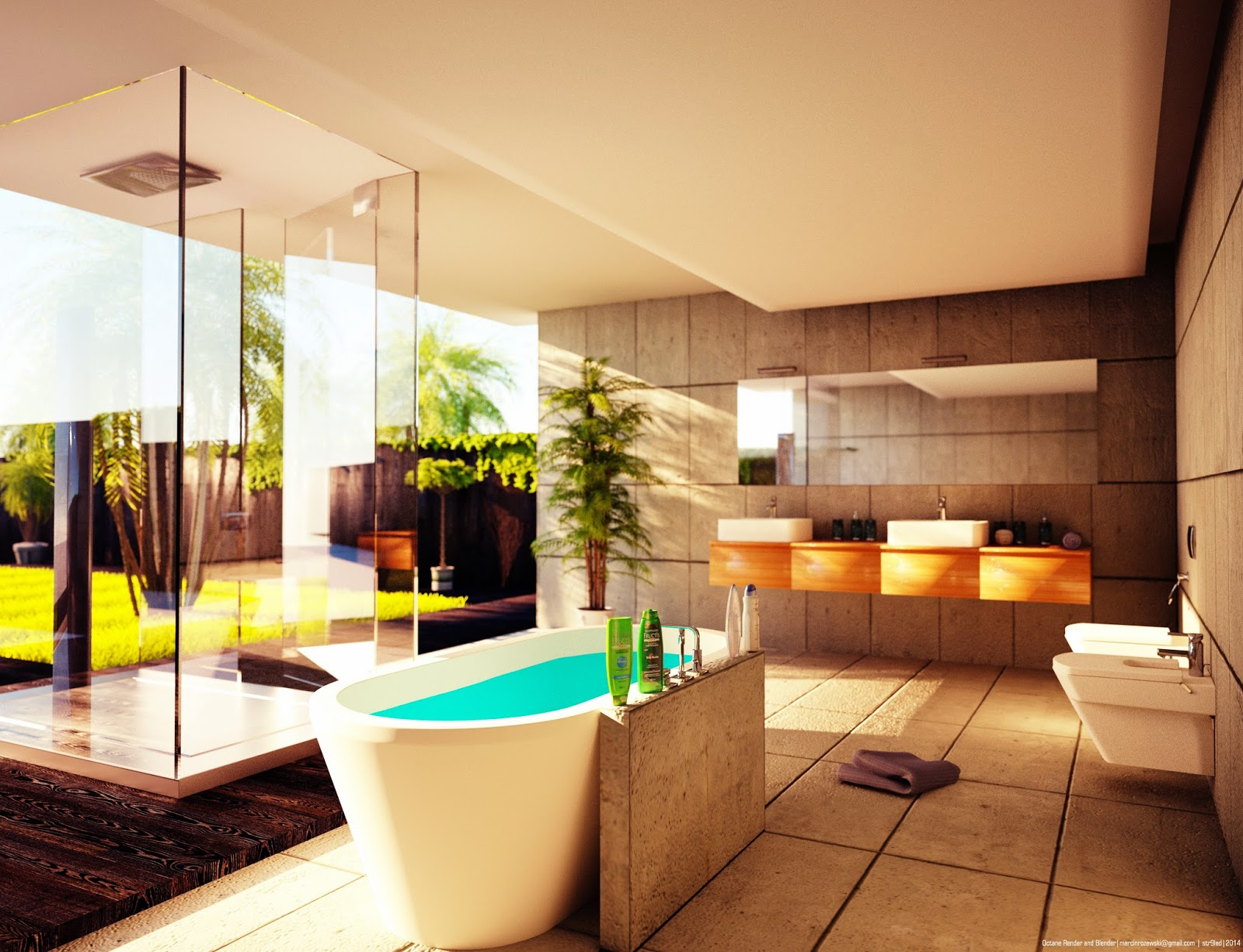Bathroom Architectural Rendering Blendernation