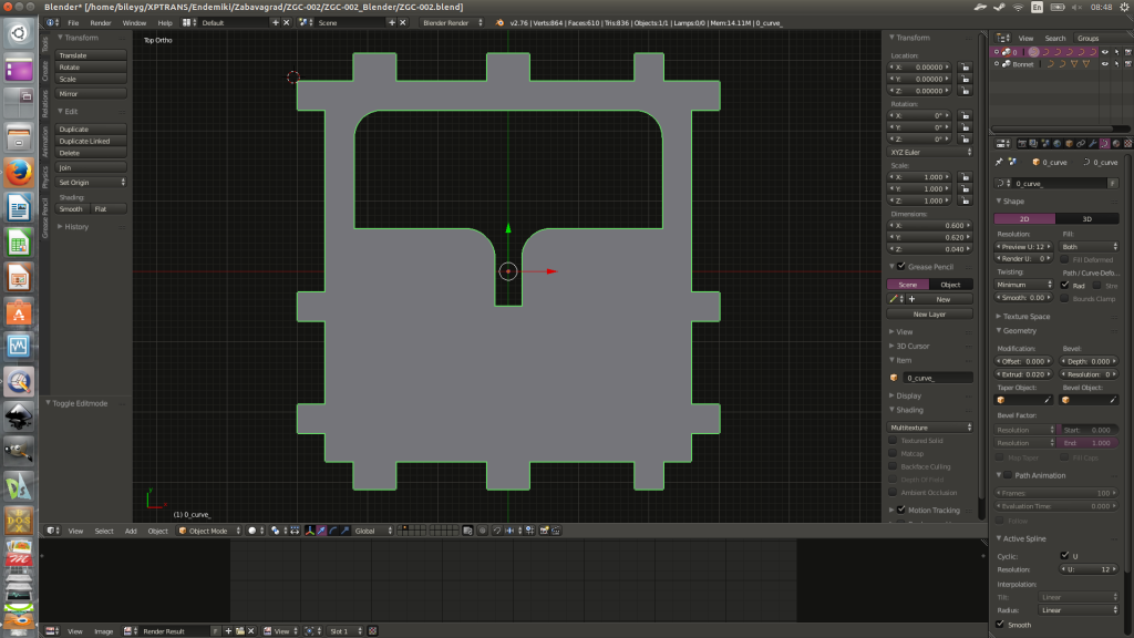Blender3d successfully imported the dxf template.