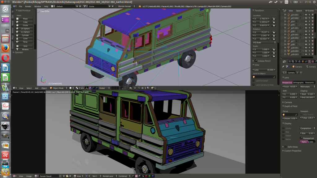 Tela do Blender 3D. Montagem final e render técnico.