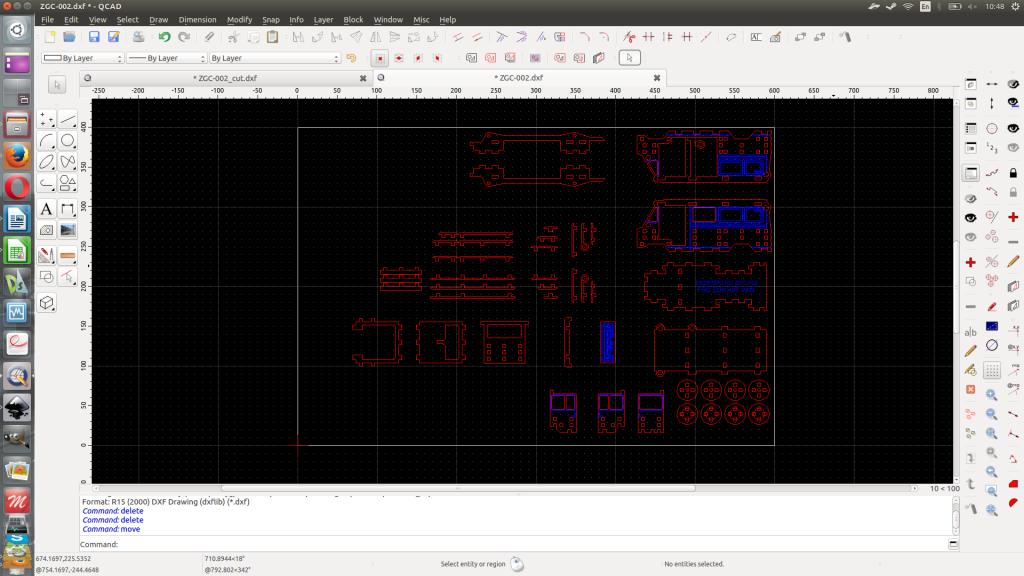 QCAD prepara os dxf para a máquina CNC.