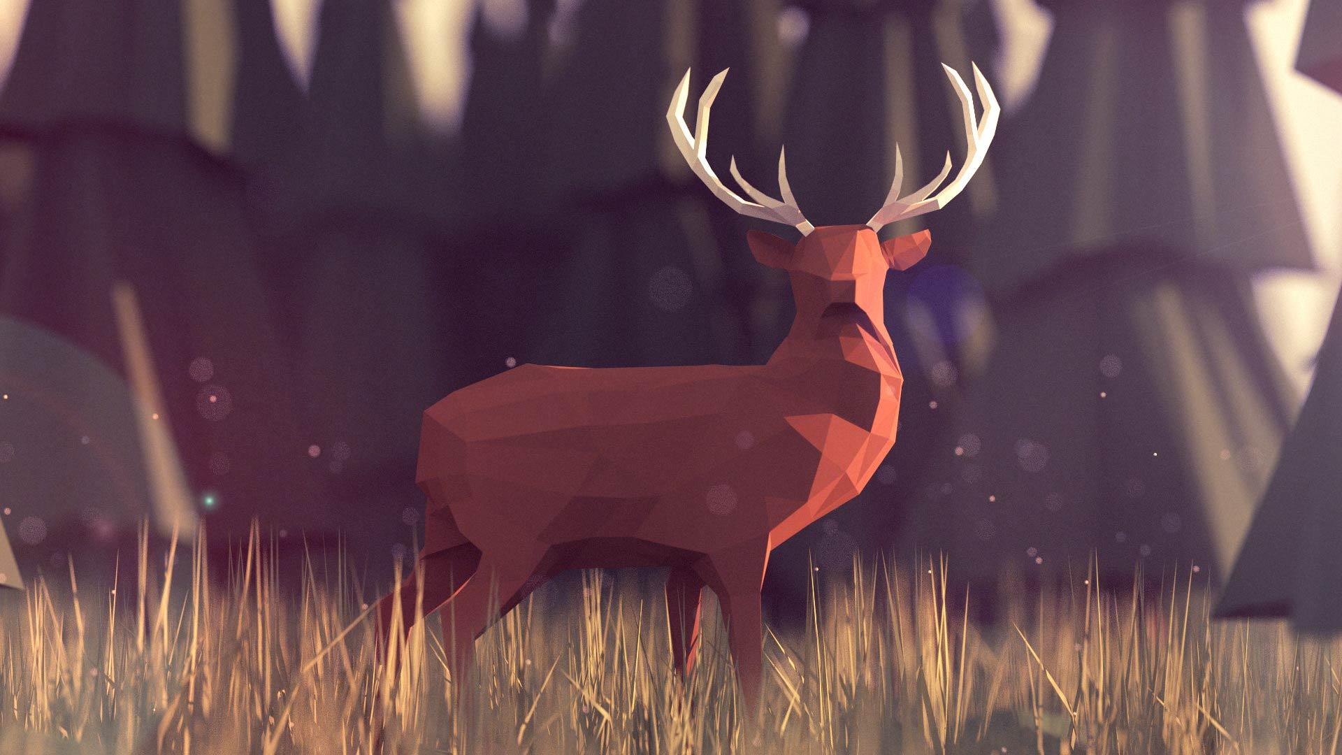 deer gray low poly - photo #2