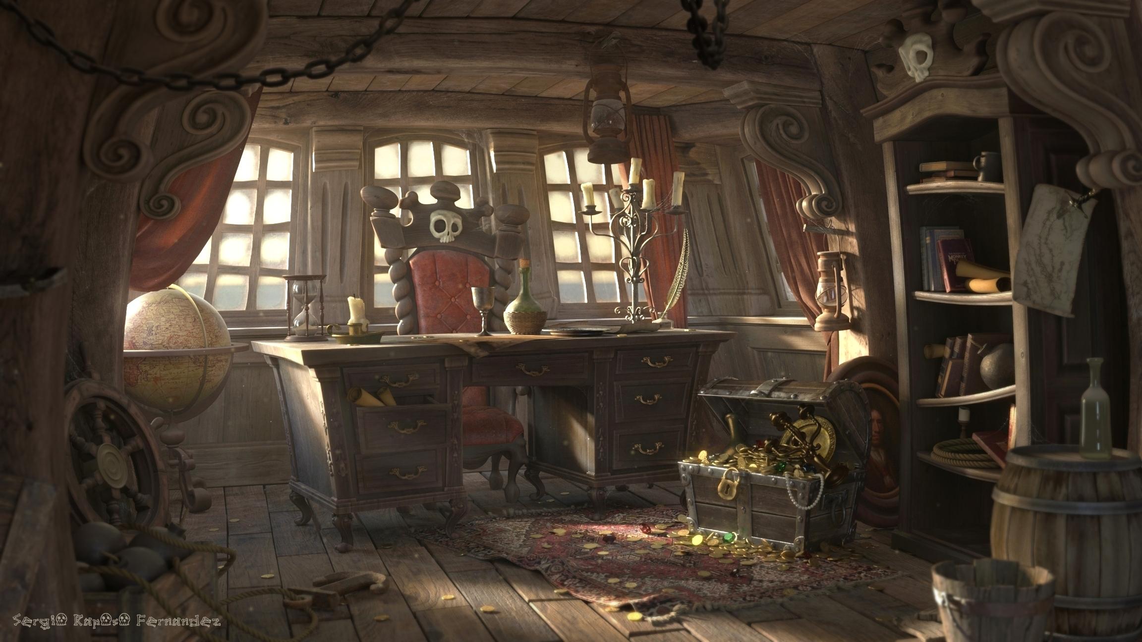 Image pirate cabin blendernation for Captain s cabin