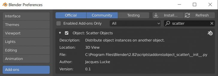 Blender's native Scatter Objects add-on