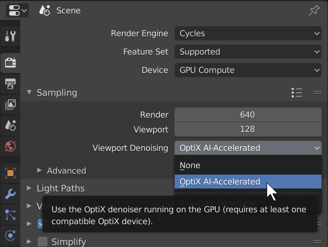Activating OptiX viewport denoising