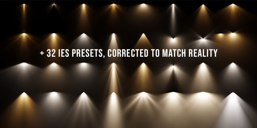 Extra Lights provides more than 32 corrected IES presets