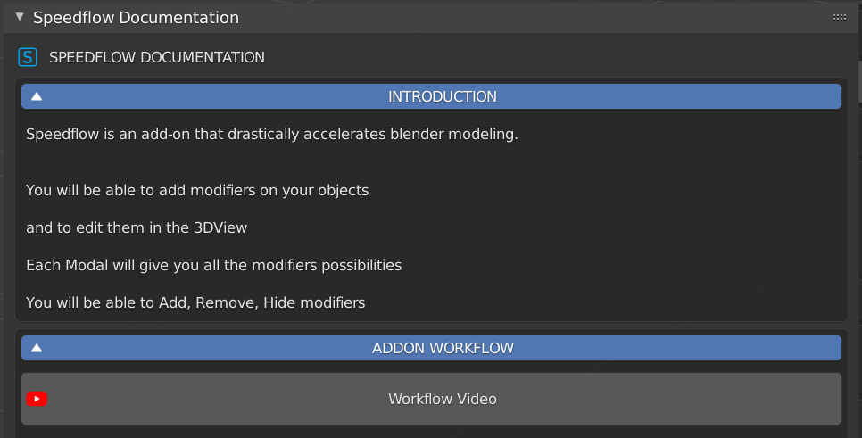 Speedflow comes with easily accessible documentation right inside Blender