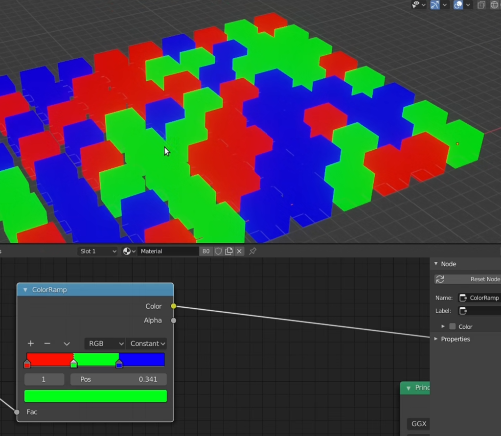 Automatically coloring separate elements using texture nodes