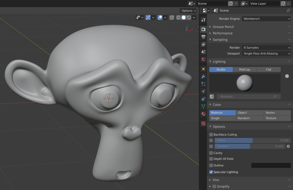 Blender's Workbench is the default viewport renderer