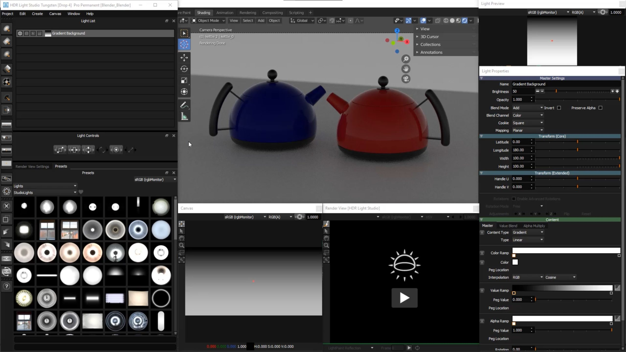 The HDR Light Studio interface can be flexibly arranged around Blender and saved