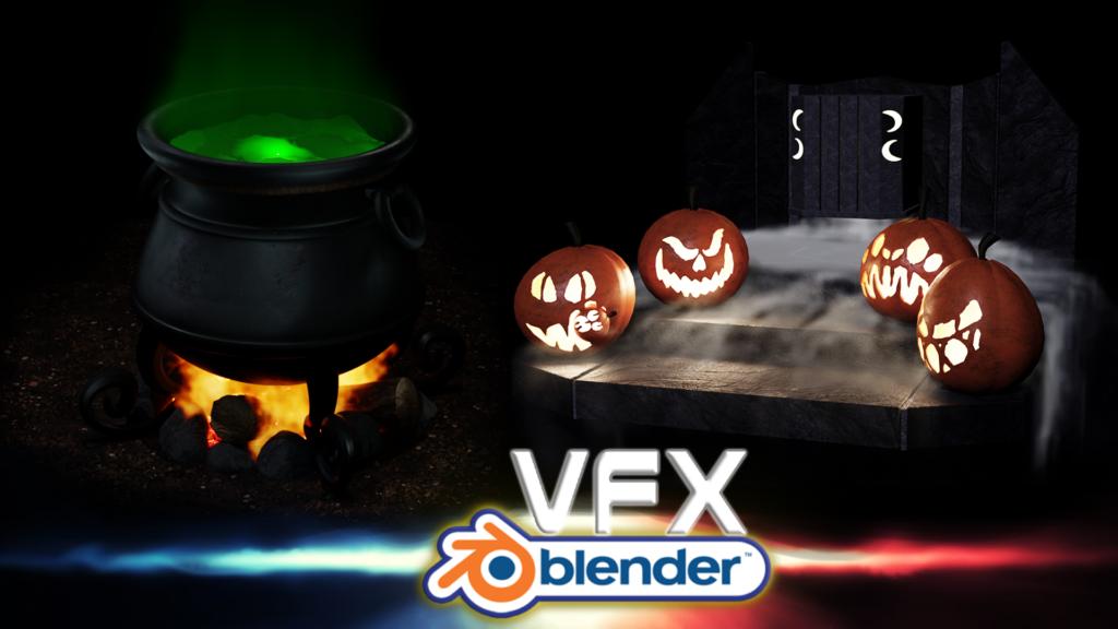 Fresh & Spooky 3D Modelling Course: Blender VFX Liquid, Fire & Smoke [$]